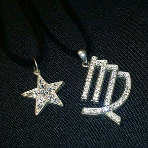 Jewelry - Virgo & Star Necklaces Silvertone & Rhinestones